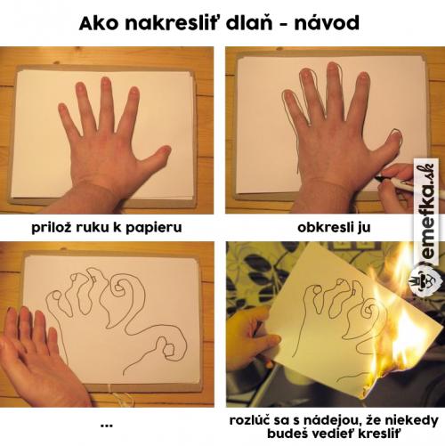 Návod jak nakreslit dlaň