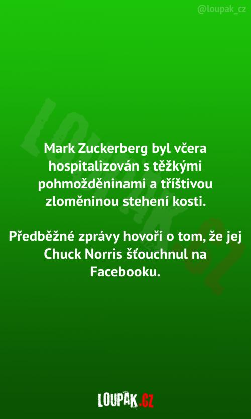 Hospitalizován Mark Zuckenberg