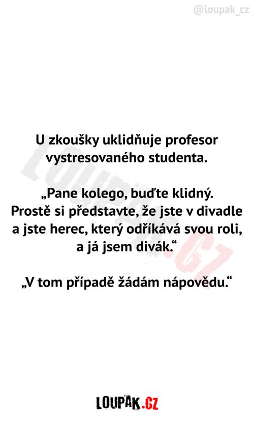 Pan profesor uklidňuje studenta u zkoušky