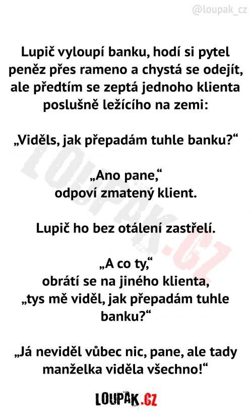 Lupič vyloupí banku