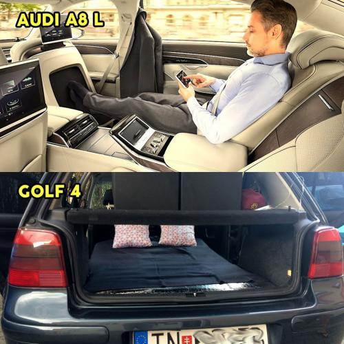 Rozdíl mezi Audi A8 L a Golfem 4