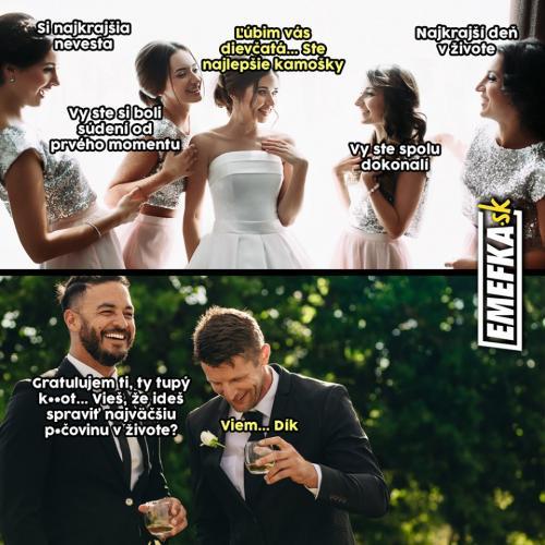 Jak reaguje na komplimenty nevěsta vs. ženich
