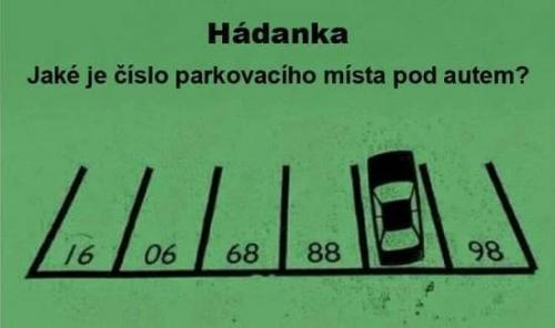 Hádanka – jaké je číslo parkovacího místa pod autem