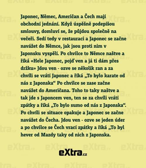 Japonec, Němec, Američan a Čech mají obchodní jednání