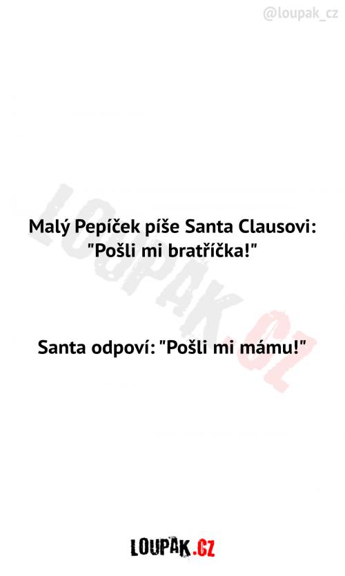 Pepíček píše dopis Santa Clausovi