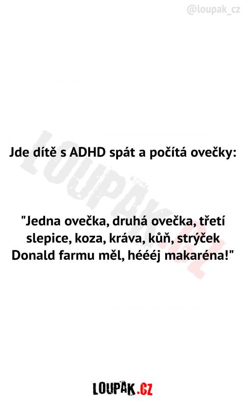 Dítě s ADHD počítá ovečky