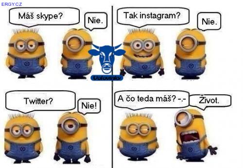 Máš Skype, Instagram, Twitter?