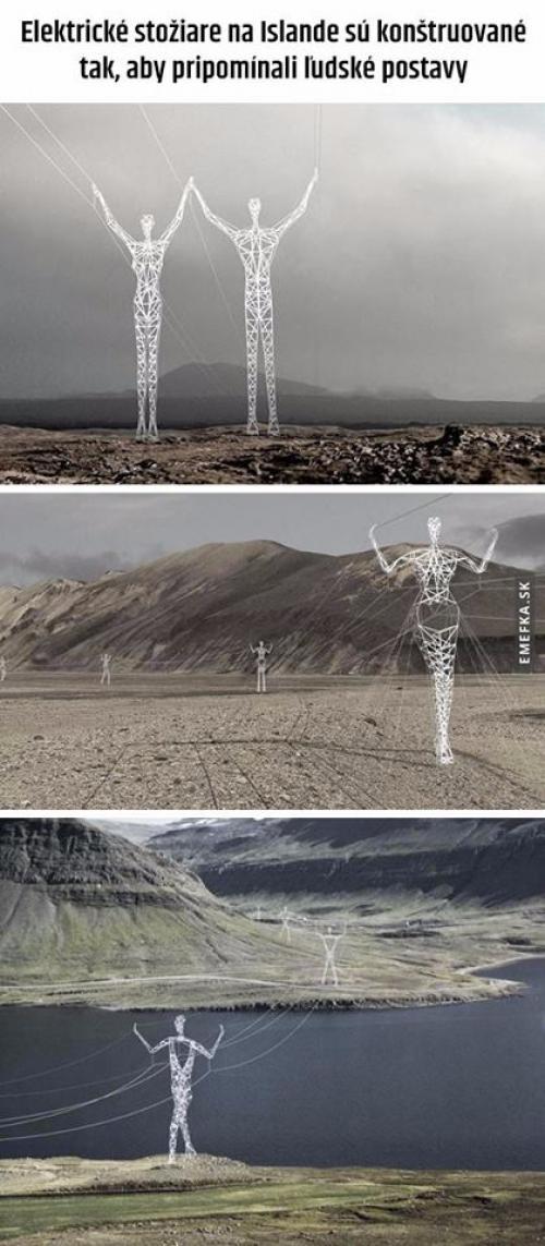 Elektrické stožáry na Islandu