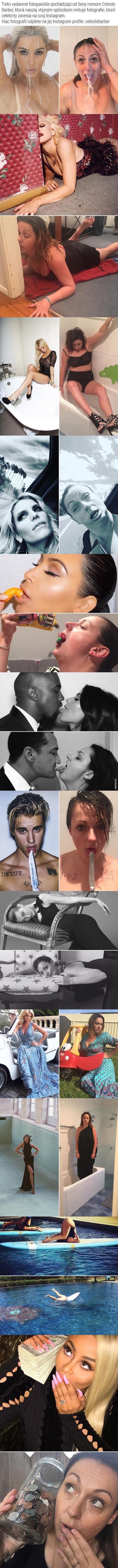 Žena dělá parodie na fotky celebrit