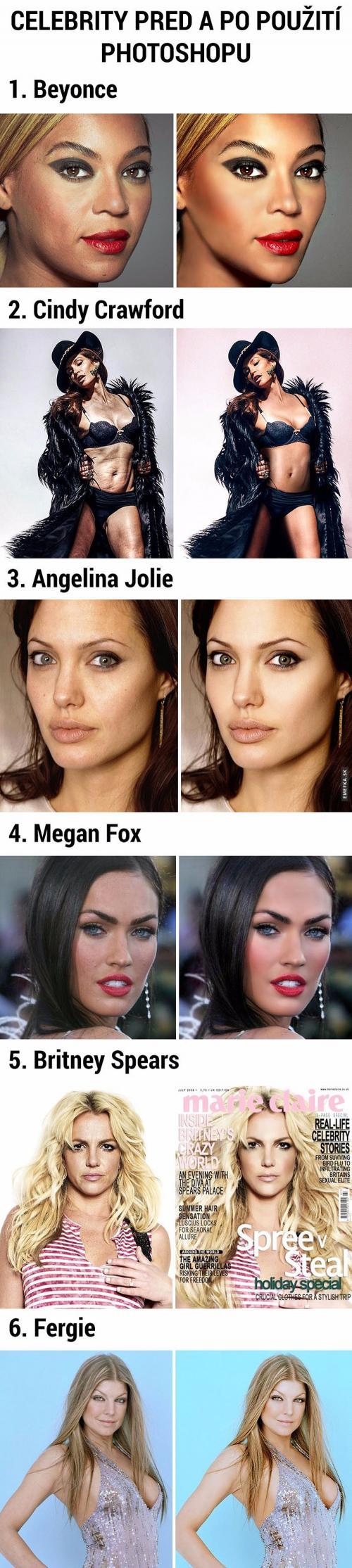 Celebrity před a pro použití photoshopu