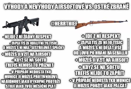 Výhody a nevýhody airsoftové vs. ostré zbraně