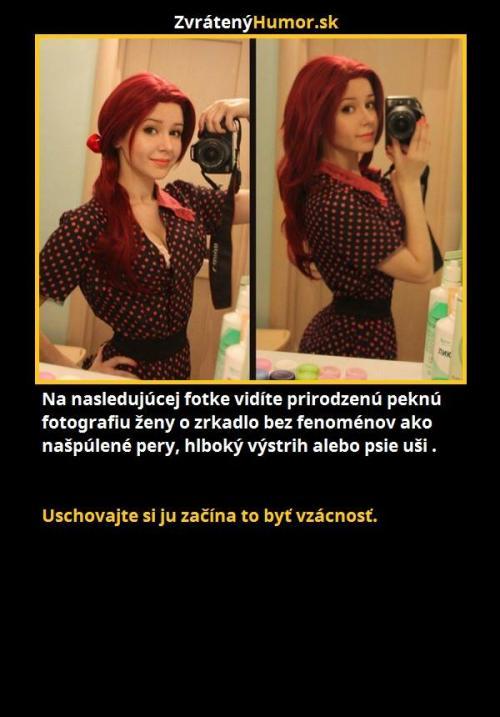Na následující fotce vidíte přirozeně pěknou fotografii ženy