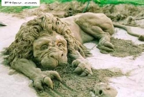 Lev z písku