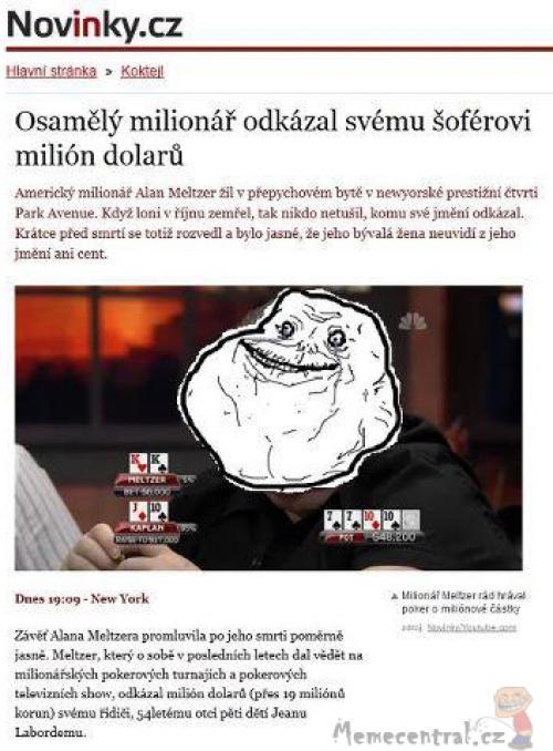 Navždy sám jako milionář