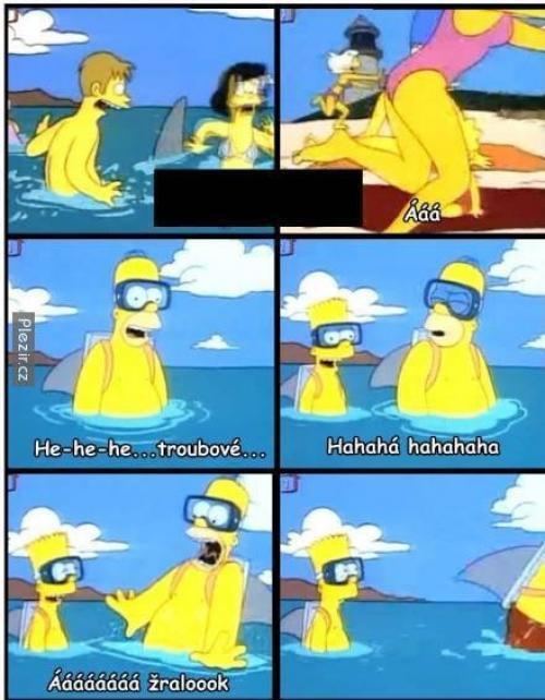 Homer a Bart ve vodě