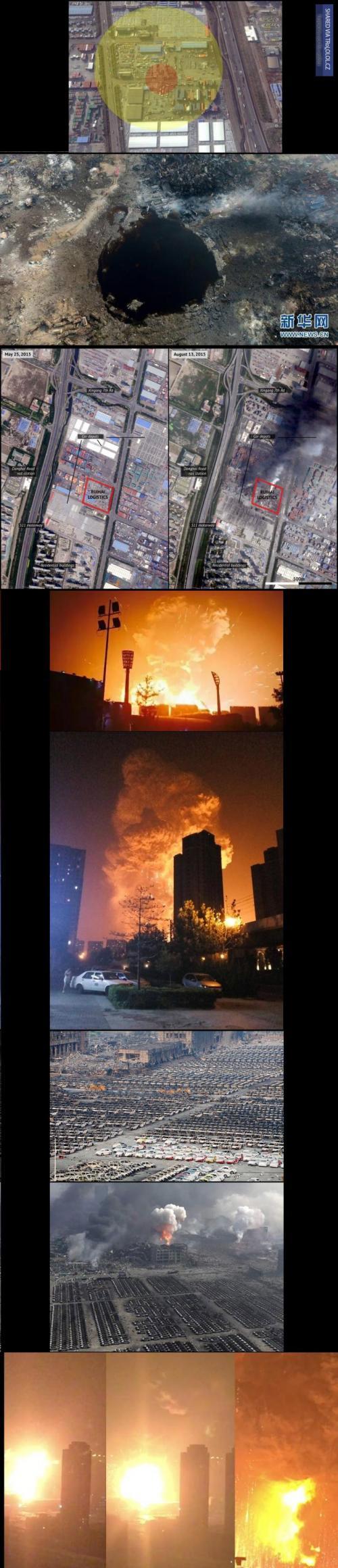 Exploze v Tianjinu a jak velký kráter po sobě zanechala