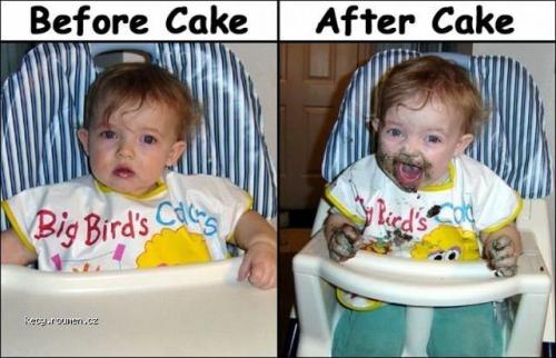 Before cake after cake