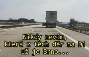 Díry na D1 ve směru Brno