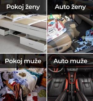 Jak vypadá pokoj/auto ženy, muže