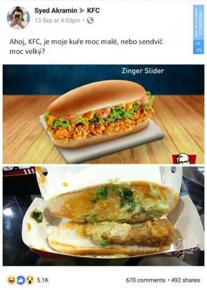 Jak vypadá sendvič v KFC