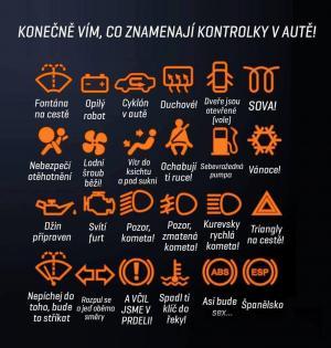 Zábavné vysvětlivky kontrolek v autě
