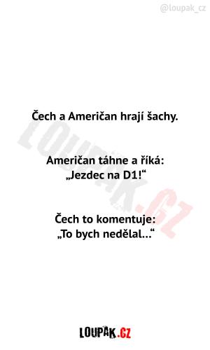 Čech a Američan hrají šachy