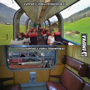 Výhled z vlaku ve Švýcarsku vs. Slovensku