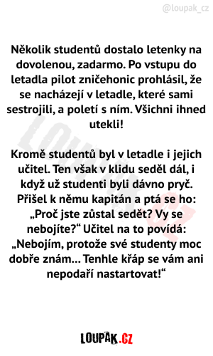 Studenti v letadle