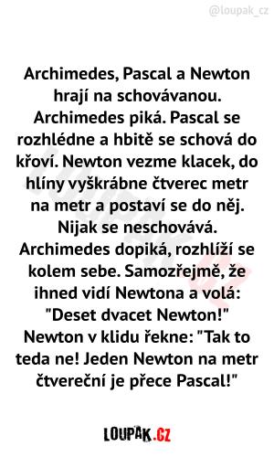 Archimedes, Pascal a Newton hrají na schovávanou