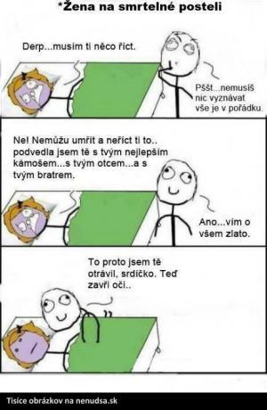 Žena na smrtelné posteli