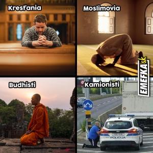 Jak se modlí křesťani, muslimové, kamionisti,...