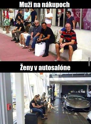 Muži a ženy na nákupech