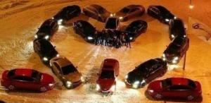 Srdce vytvořené z aut