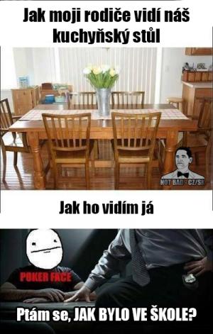 Jak moji rodiče vidí náš kuchyňský stůl