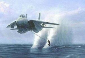 Vodní lyžování se stíhačkou