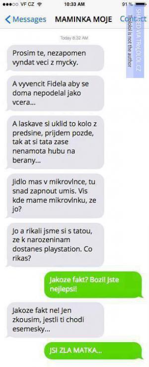 SMS od mámy