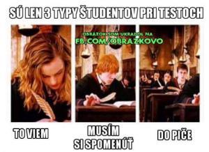3 Typy studentů při testu