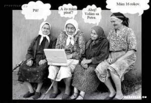 Důchodkyně a notebook