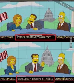 Zprávy v pozadí Simpsonů