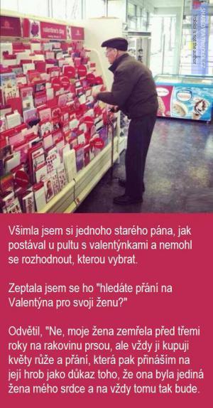 Starý muž a valentýn