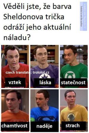 Sheldon a barva trička