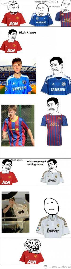 Justin Bieber a ostuda fotbalistům