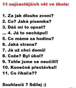 11 vět ve škole