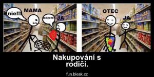 Nakupování s rodiči.