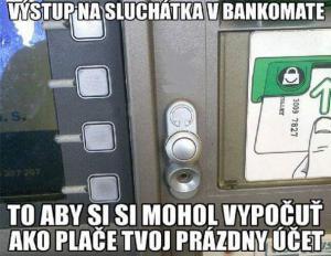 Sluchátka v bankomatu