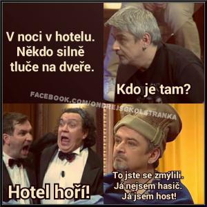 Hotel hoří