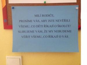 Vzkaz ve školce
