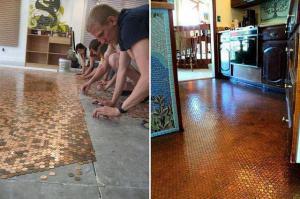 Podlaha z mincí