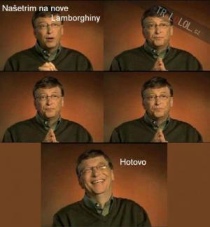 Bill Gates šetří na Lamborghiny