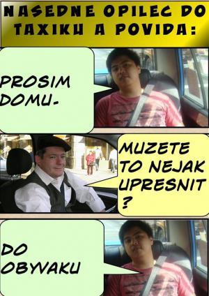 Opilec v taxiku